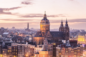 Amsterdam center skyline