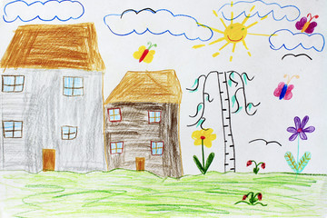children's drawing with butterflies birch houses and flowers