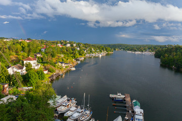 Stockholm. The scenic lagoon in a residential area