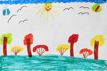 children's drawing with bushes trees and birds