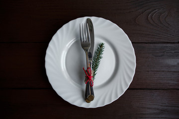 Winter menu setting, cutlery on plate with fir and copyspace. Ideal for creative restaurants with winter menu