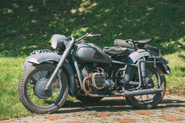 Rarity Three-Wheeled Motorcycle With Sidecar Of German Forces Of World War 2 Time Standing
