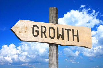 Growth - wooden signpost