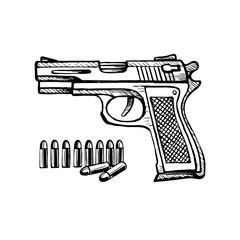 Doodle style handgun sketch bullet