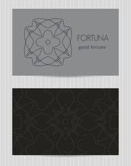 Two sided business card . Ornamental design template with front and back side, logo and decorative pattern. Vector illustration
