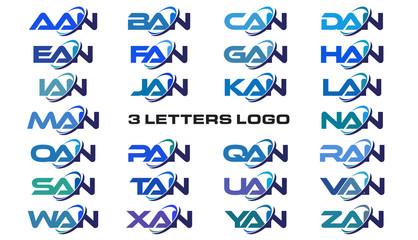 3 letters modern generic swoosh logo AAN, BAN, CAN, DAN, EAN, FAN, GAN, HAN, IAN, JAN, KAN, LAN, MAN, NAN, OAN, PAN, QAN, RAN, SAN, TAN, UAN, VAN, WAN, XAN, YAN, ZAN,