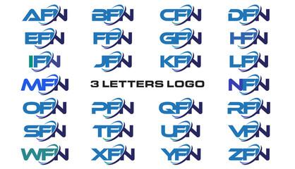 3 letters modern generic swoosh logo AFN, BFN, CFN, DFN, EFN, FFN, GFN, HFN, IFN, JFN, KFN, LFN, MFN, NFN, OFN, PFN, QFN, RFN, SFN, TFN, UFN, VFN, WFN, XFN, YFN, ZFN,