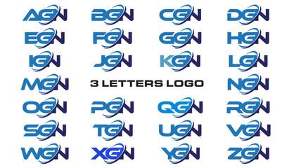 3 letters modern generic swoosh logo AGN, BGN, CGN, DGN, EGN, FGN, GGN, HGN, IGN, JGN, KGN, LGN, MGN, NGN, OGN, PGN, QGN, RGN, SGN, TGN, UGN, VGN, WGN, XGN, YGN, ZGN,