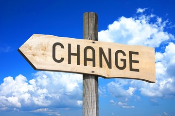 Change - wooden signpost