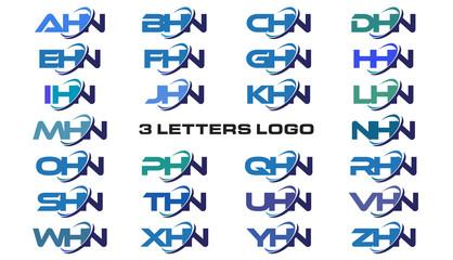 3 letters modern generic swoosh logo AHN, BHN, CHN, DHN, EHN, FHN, GHN, HHN, IHN, JHN, KHN, LHN, MHN, NHN, OHN, PHN, QHN, RHN, SHN, THN, UHN, VHN, WHN, XHN, YHN, ZHN,
