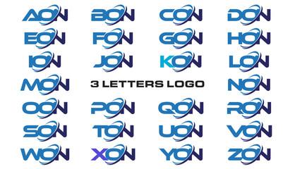 3 letters modern generic swoosh logo AON, BON, CON, DON, EON, FON, GON, HON, ION, JON, KON, LON, MON, NON, OON, PON, QON, RON, SON, TON, UON, VON, WON, XON, YON, ZON,