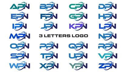 3 letters modern generic swoosh logo APN, BPN, CPN, DPN, EPN, FPN, GPN, HPN, IPN, JPN, KPN, LPN, MPN, NPN, OPN, PPN, QPN, RPN, SPN, TPN, UPN, VPN, WPN, XPN, YPN, ZPN,