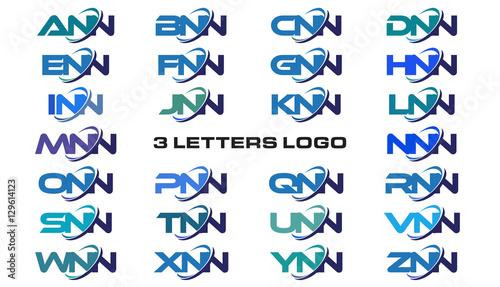 3 letters modern generic swoosh logo ANN, BNN, CNN, DNN, ENN, FNN