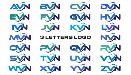 3 letters modern generic swoosh logo AVN, BVN, CVN, DVN, EVN, FVN, GVN, HVN, IVN, JVN, KVN, LVN, MVN, NVN, OVN, PVN, QVN, RVN, SVN, TVN, UVN, VVN, WVN, XVN, YVN, ZVN,
