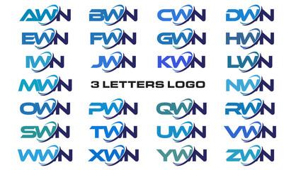 3 letters modern generic swoosh logo AWN, BWN, CWN, DWN, EWN, FWN, GWN, HWN, IWN, JWN, KWN, LWN, MWN, NWN, OWN, PWN, QWN, RWN, SWN, TWN, UWN, VWN, WWN, XWN, YWN, ZWN,