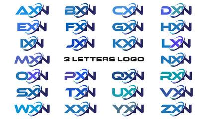 3 letters modern generic swoosh logo AXN, BXN, CXN, DXN, EXN, FXN, GXN, HXN, IXN, JXN, KXN, LXN, MXN, NXN, OXN, PXN, QXN, RXN, SXN, TXN, UXN, VXN, WXN, XXN, YXN, ZXN,