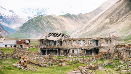 Old Empty Abandoned Forsaken Village With Dilapidated Houses In