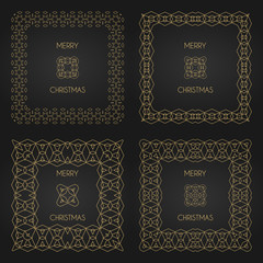Golden decorative frames set. Vector design templates. Creative intricate borders. Merry christmas text.