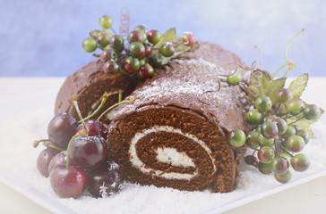 Festive Christmas Yule Log Cake