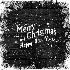 Merry Christmas Greetings. Wooden black christmas background wit