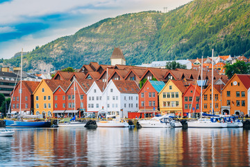 View of historical buildings, Bryggen in Bergen, Norway. UNESCO