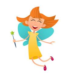 Fun cute fairy girl with wings and a magic wand