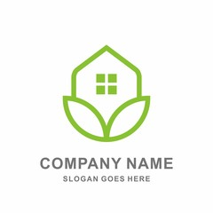 Greenhouse Leaf Nature Conservation Renewable Architecture Business Company Stock Vector Logo Design Template
