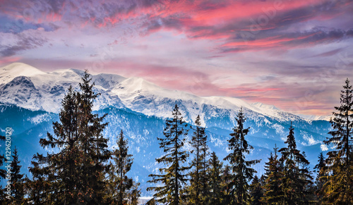 Wall mural Winter mountains panorama of Zakopane,  High Tatra Mountains, Poland