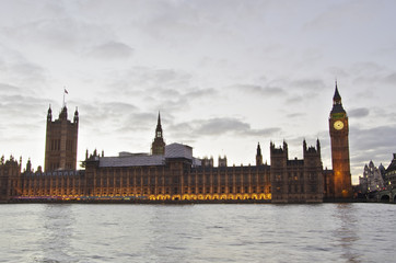 Big Ben and Westminster from the riverside