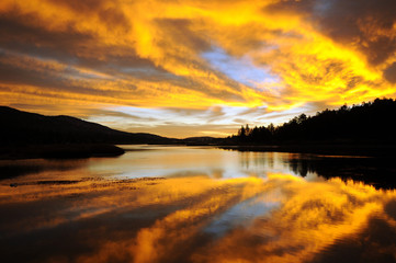 Golden Sunrise Over Lake