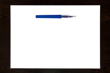 Blue pen Isolated on a white paper sheet, template ready for your design