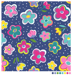Colorful hand drawn flower seamless vector pattern