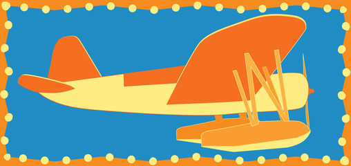 Simple bright orange and yellow sea airplane vector illustration side view on blue background