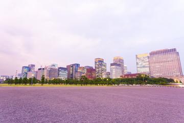 Tokyo Downtown Marunouchi City Skyline Dusk H