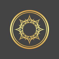 Abstract element for design, gold flower, star, mandala, decoration.