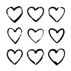 Set of hand-drawn hearts