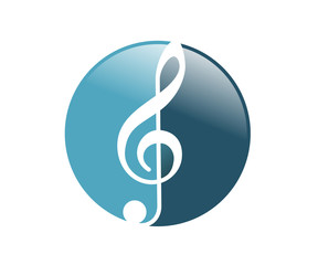 Blue Circle Music Notes with Effect Symbol