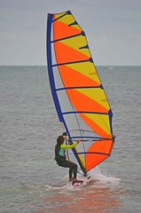 Young Woman Windsurfing Off Virginia Key,Key Biscayne,Florida
