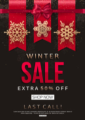 Winter Sale Banner with gold shiny snowflakes. Vector illustration eps 10 format.