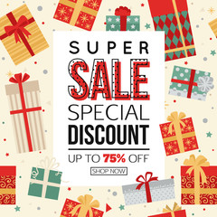 Christmas sale banner with gift boxes vector illustration