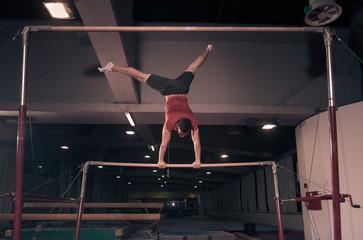 man gymnast two hand cartwheel