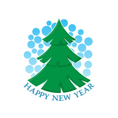 Happy New Year sticker with the image of a Christmas tree and snow.