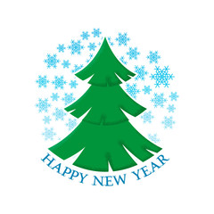 Happy New Year sticker with the image of a Christmas tree and snowflakes.