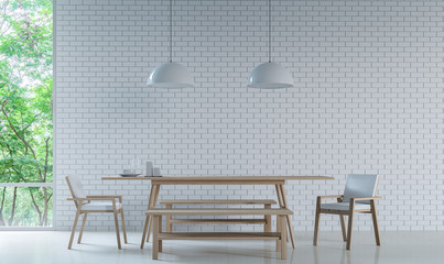 Modern white dining room Decorate Wall With white Brick 3D Rendering Image. Minimalist style decorate wall with white Brick pattern There are large windows looking out to experience nature up close