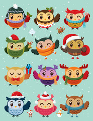 Vintage Christmas poster design with owls characters set.
