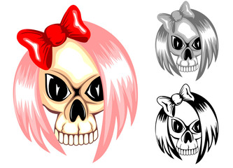 Vector illustrationcolor and black and white skull emo with bow for t-shirt design