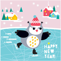 Skating angry owl. vector illustration. Happy New Year card.