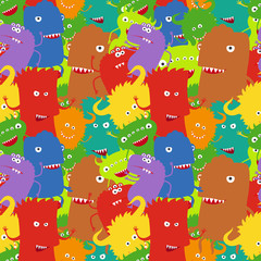 Cartoon crazy colorful moster seamless pattern. Vector illustration
