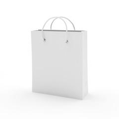 White blank shopping bag isolated on white background. 3D illustration