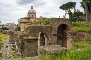 Ancient ruins, Roman Forum. Rome, Italy.